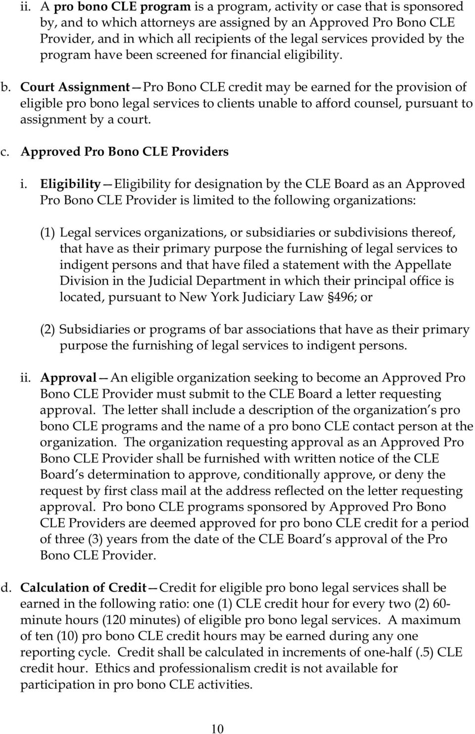 c. Approved Pro Bono CLE Providers i.