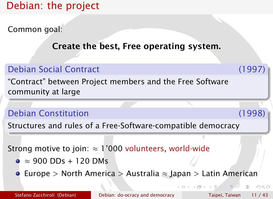 Constitution (1998) Structures and rules of a Free-Software-compatible democracy Strong motive to join: 1 000