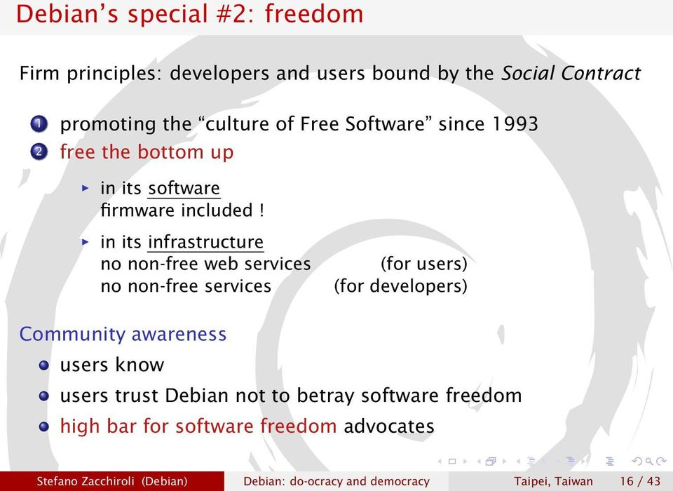 Debian: 17 years of Free Software, do-ocracy, and democracy