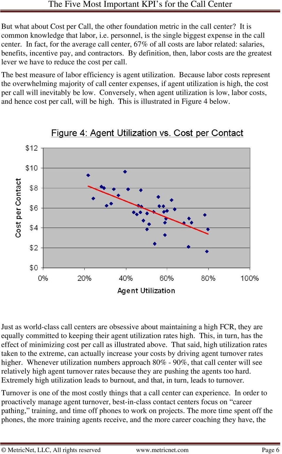 By definition, then, labor costs are the greatest lever we have to reduce the cost per call. The best measure of labor efficiency is agent utilization.