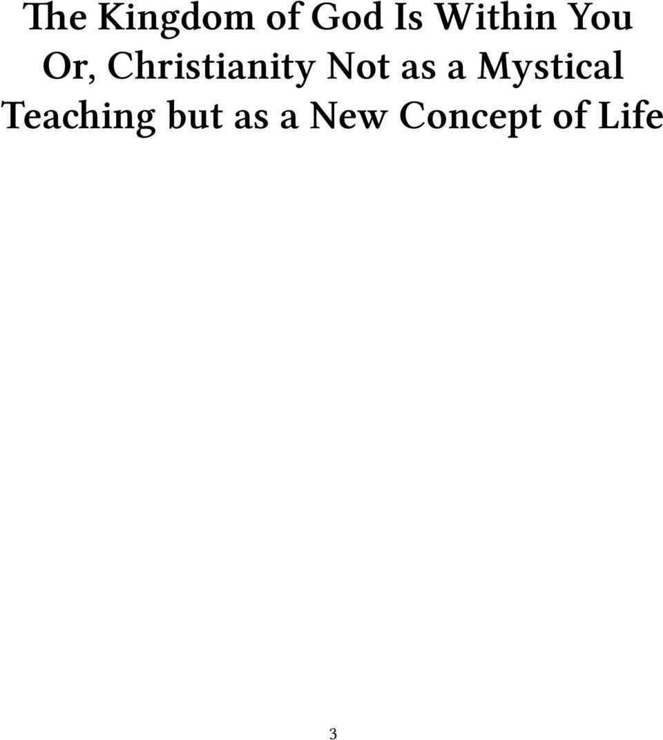 Christianity Not as a