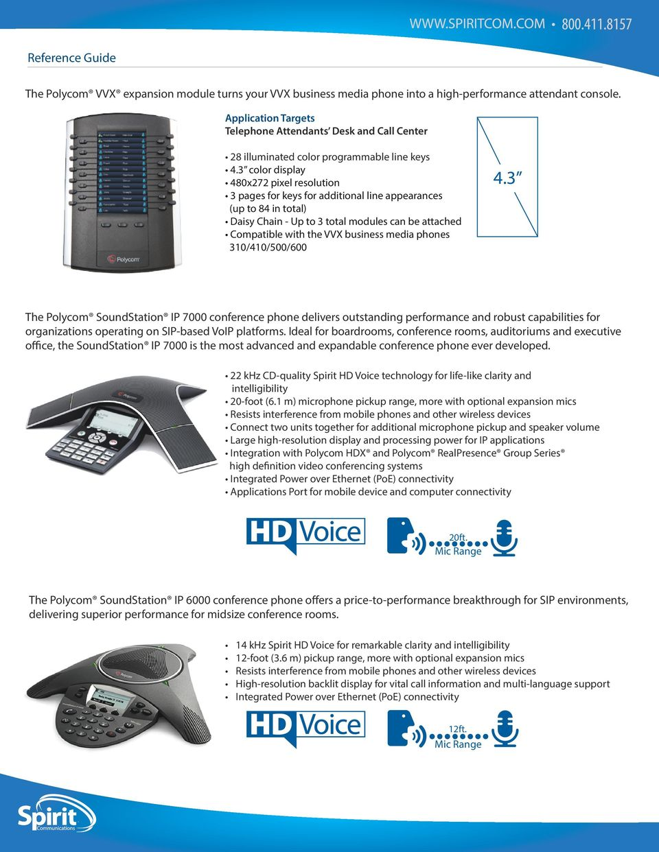 modules can be attached Compatible with the VVX business media phones 310/410/500/600 The Polycom SoundStation IP 7000 conference phone delivers outstanding performance and robust capabilities for