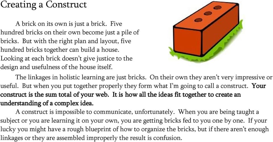 The linkages in holistic learning are just bricks. On their own they aren t very impressive or useful. But when you put together properly they form what I m going to call a construct.