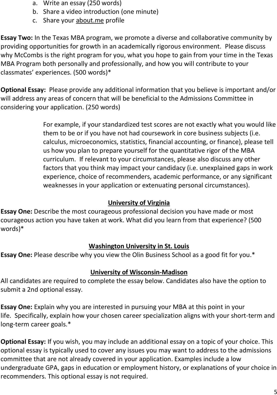 University Of Wisconsin Admissions Essay 2012