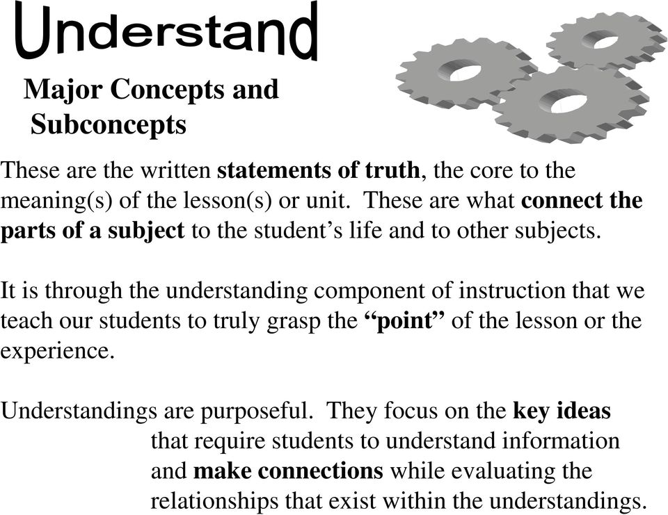 It is through the understanding component of instruction that we teach our students to truly grasp the point of the lesson or the