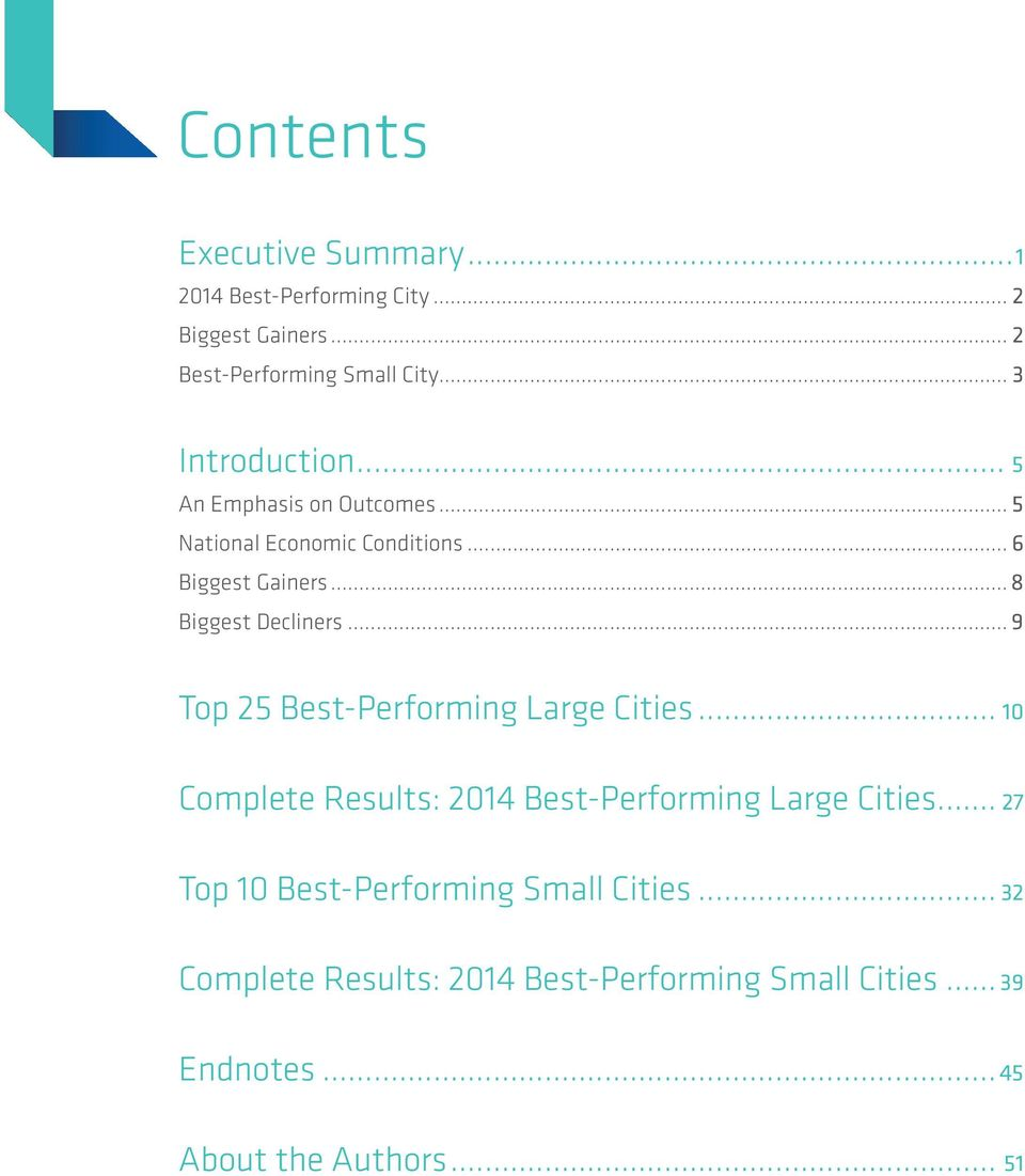 .. 8 Biggest Decliners... 9 Top 25 Best-Performing Large Cities... 10 Complete Results: 2014 Best-Performing Large Cities.