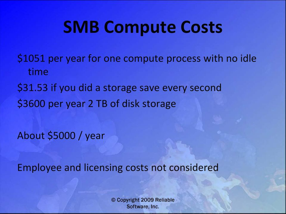 53 if you did a storage save every second $3600 per
