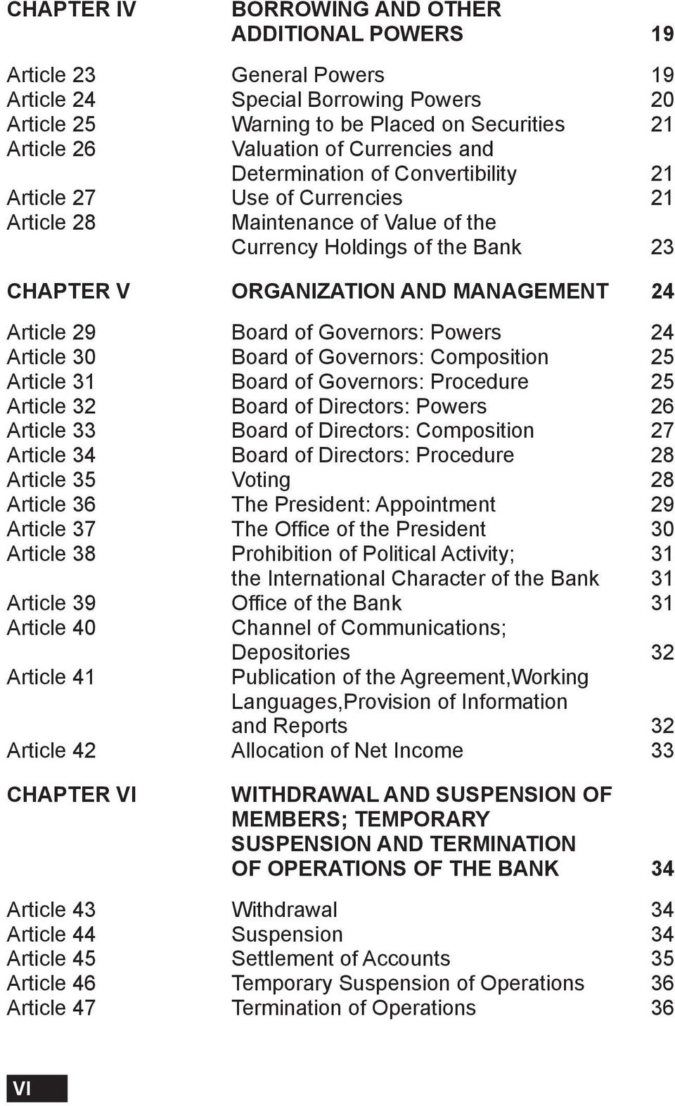 Article 29 Board of Governors: Powers 24 Article 30 Board of Governors: Composition 25 Article 31 Board of Governors: Procedure 25 Article 32 Board of Directors: Powers 26 Article 33 Board of