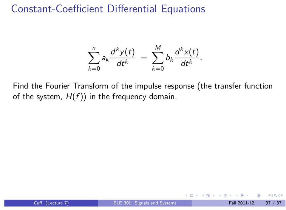 Find the Fourier Transform of the impulse response (the transfer