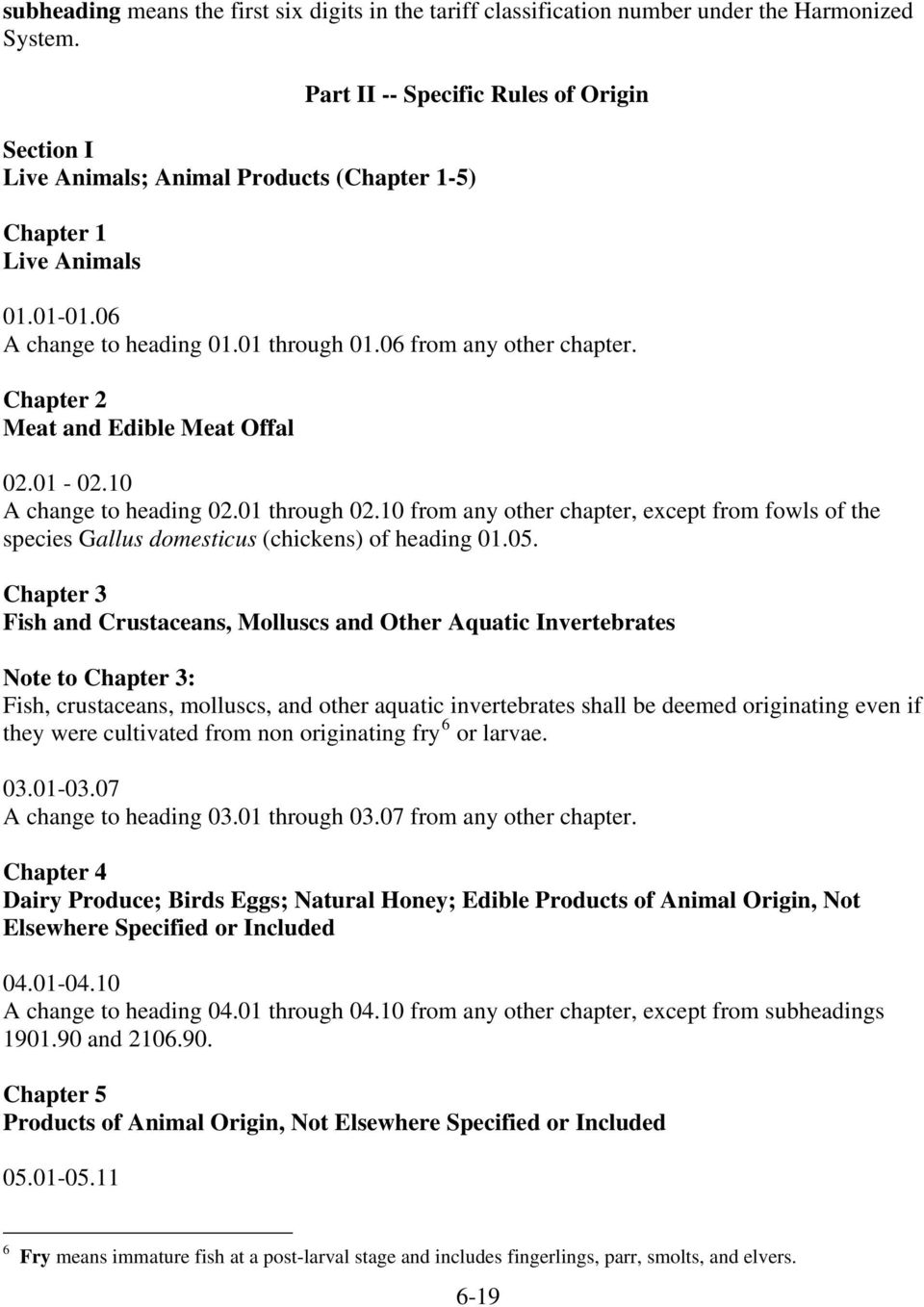 Chapter 2 Meat and Edible Meat Offal 02.01-02.10 A change to heading 02.01 through 02.10 from any other chapter, except from fowls of the species Gallus domesticus (chickens) of heading 01.05.