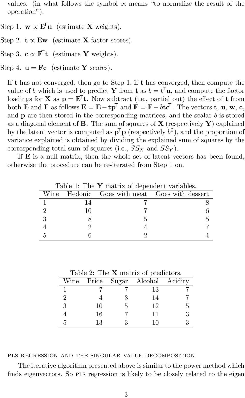 If t has not converged, then go to Step 1, if t has converged, then compute the value of b which is used to predict Y from t as b = t T u, and compute the factor loadings for X as p = E T t.