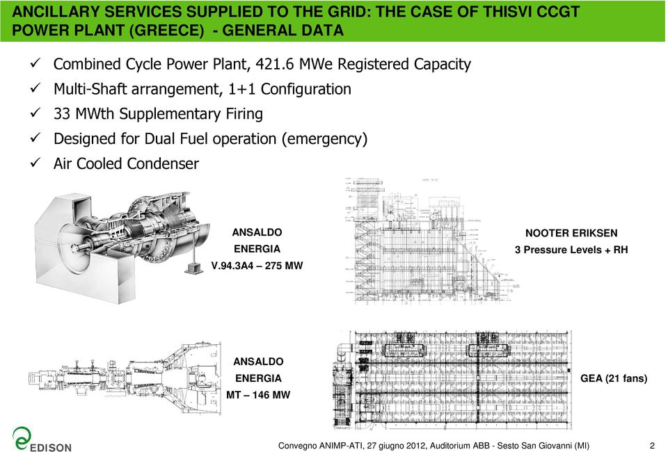 6 MWe Registered Capacity Multi-Shaft arrangement, 1+1 Configuration 33 MWth Supplementary Firing