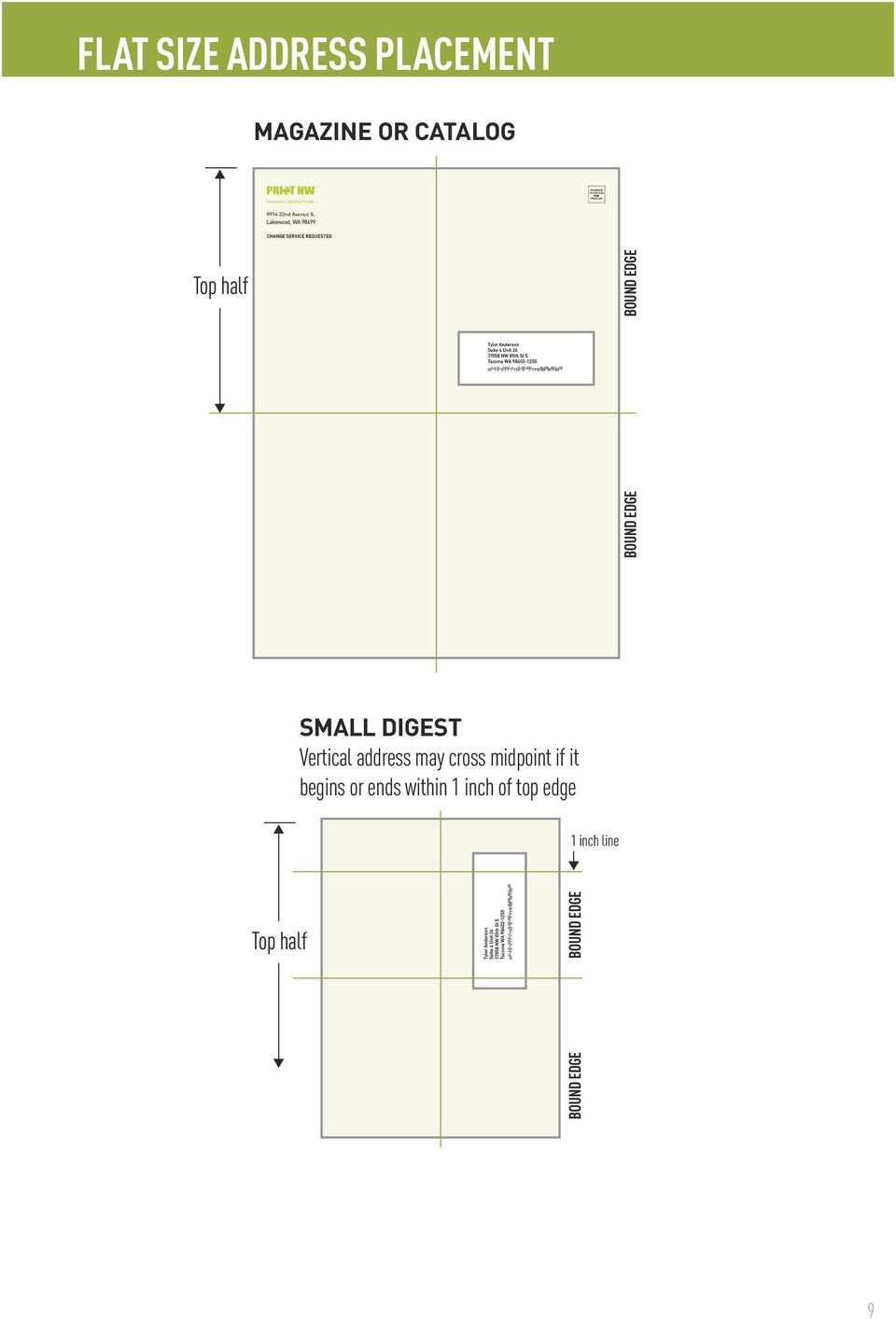 inch of top edge Top half SMALL DIGEST 1 inch line Vertical address may