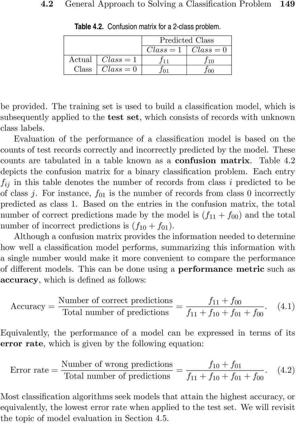 Evaluation of the performance of a classification model is based on the counts of test records correctly and incorrectly predicted by the model.