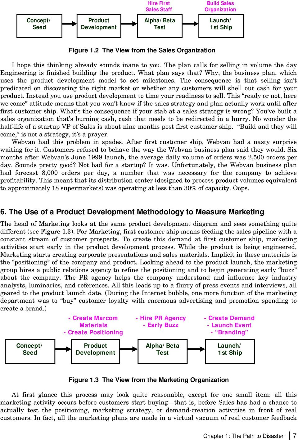 Why, the business plan, which uses the product development model to set milestones.