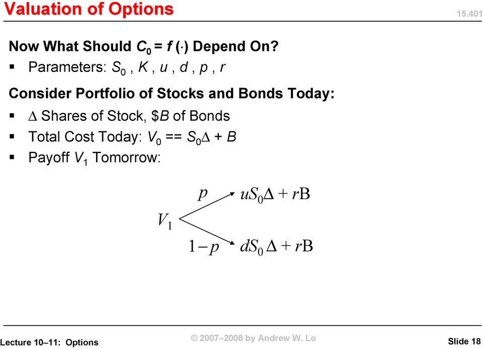 Bonds Today: Shares of Stock, $B of Bonds Total Cost Today: V 0