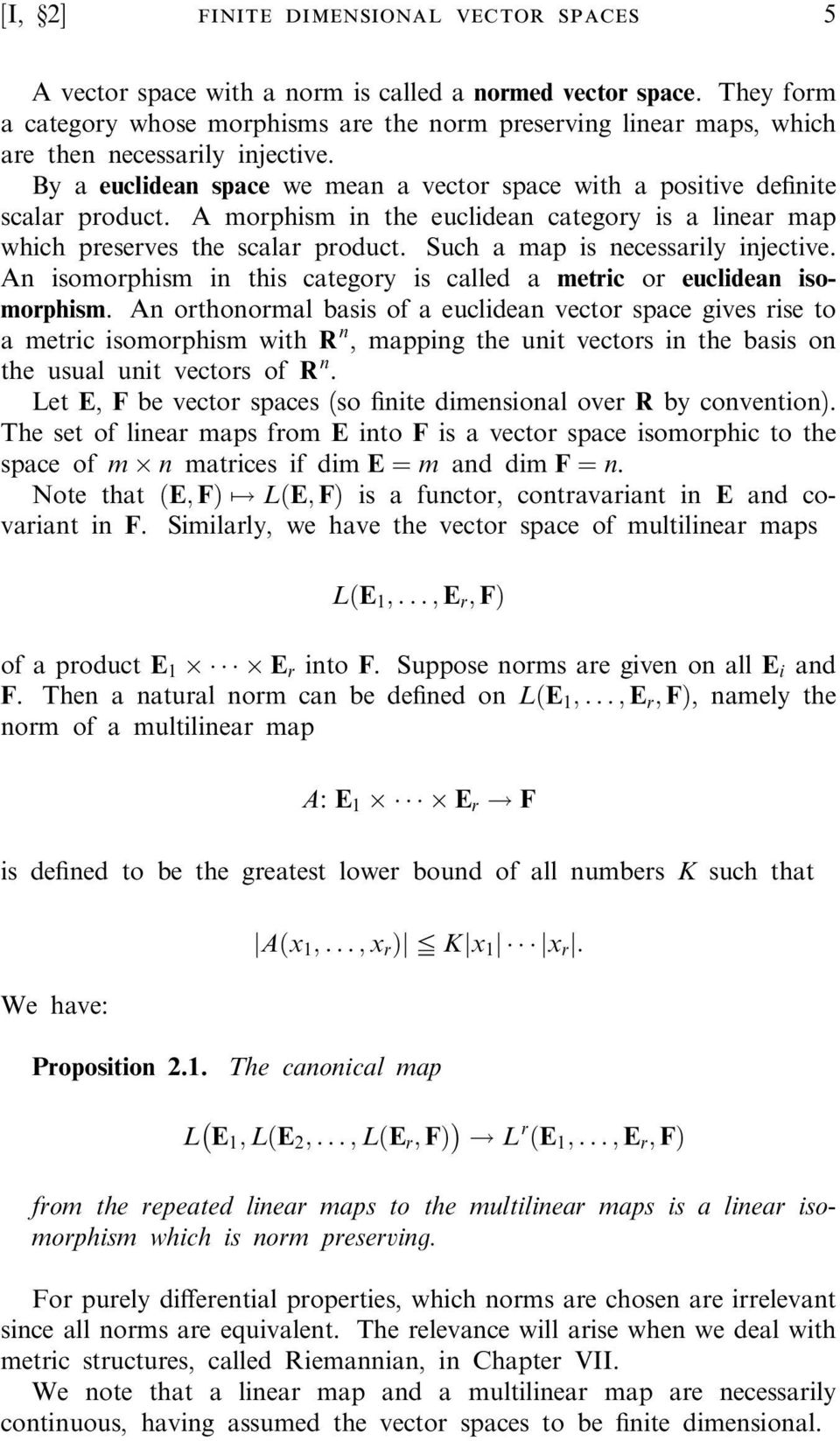 Vector space of continuous real valued functions