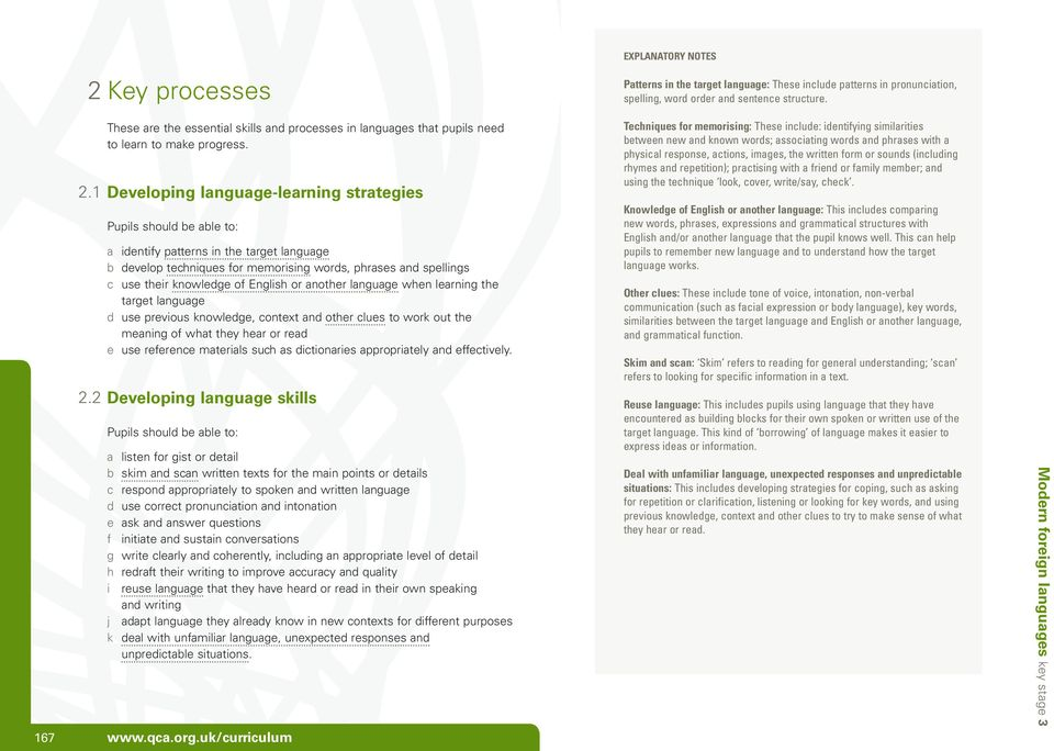 1 Developing language-learning strategies Pupils should be able to: a identify patterns in the target language b develop techniques for memorising words, phrases and spellings c use their knowledge