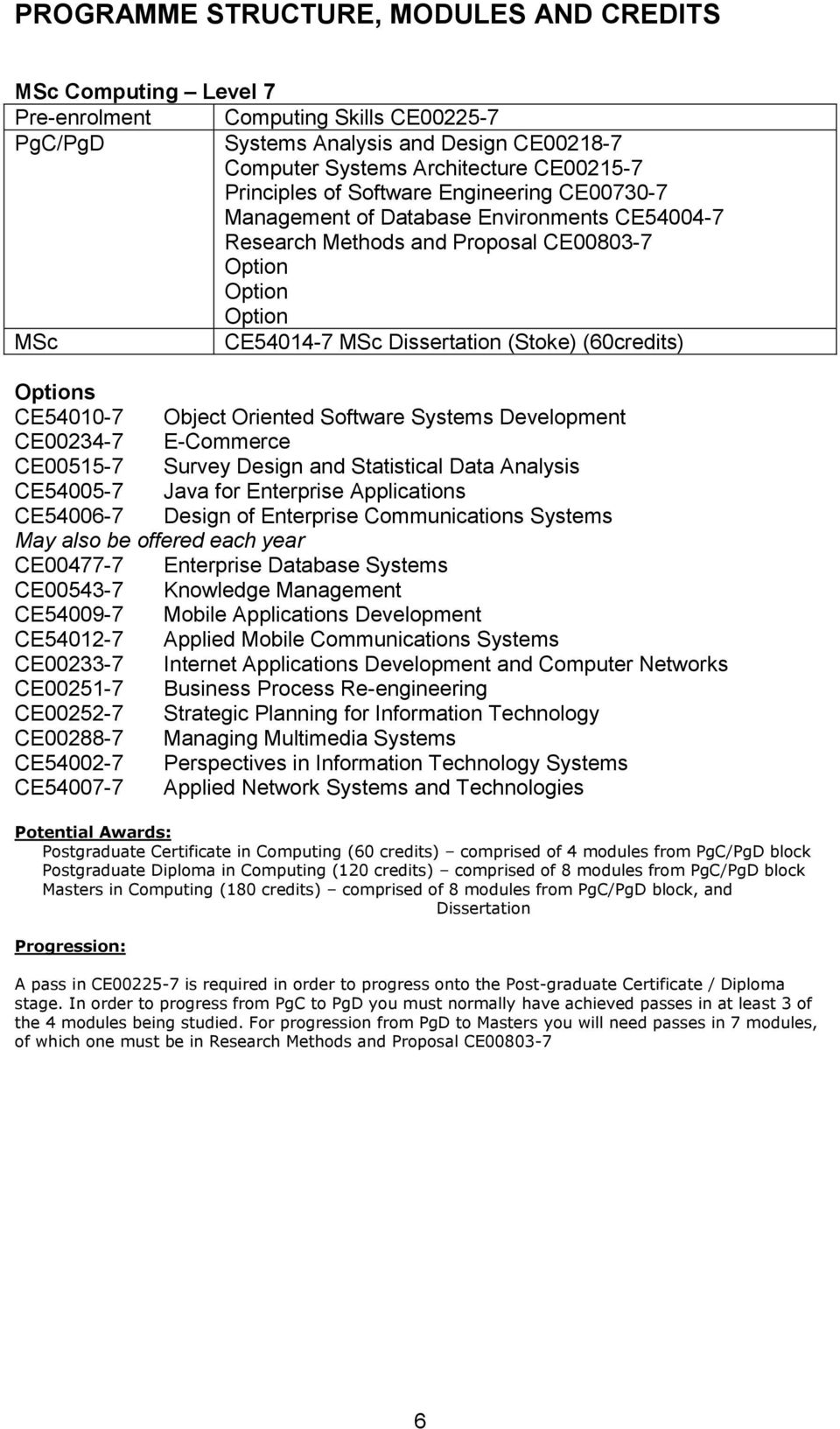 Systems Development CE00234-7 E-Commerce CE00515-7 Survey Design and Statistical Data Analysis CE54005-7 Java for Enterprise s CE54006-7 Design of Enterprise s Systems May also be offered each year