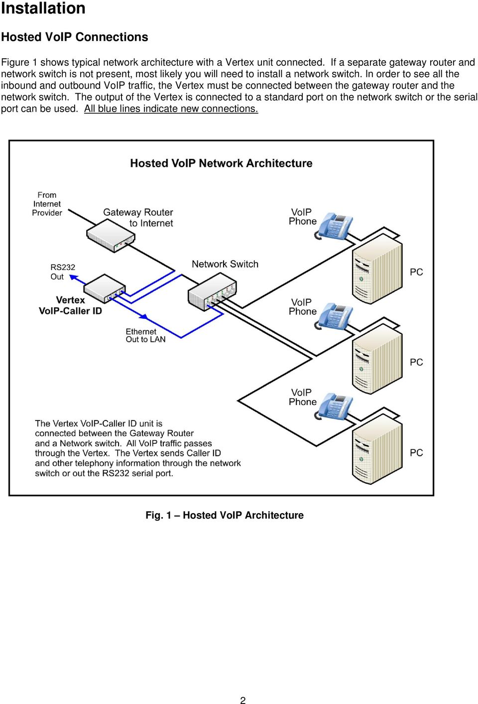 In order to see all the inbound and outbound VoIP traffic, the Vertex must be connected between the gateway router and the network switch.