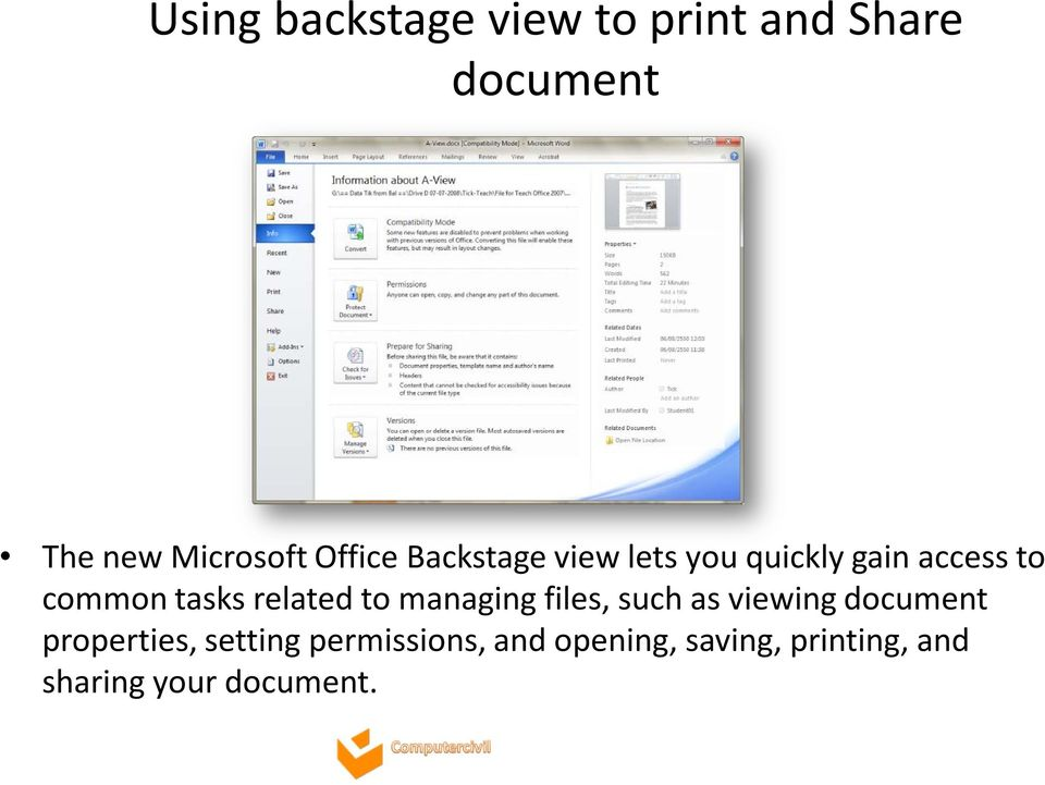 related to managing files, such as viewing document properties,