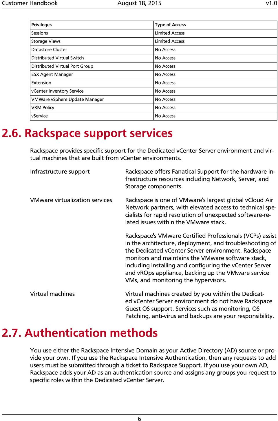 Rackspace support services Rackspace provides specific support for the Dedicated vcenter Server environment and virtual machines that are built from vcenter environments.