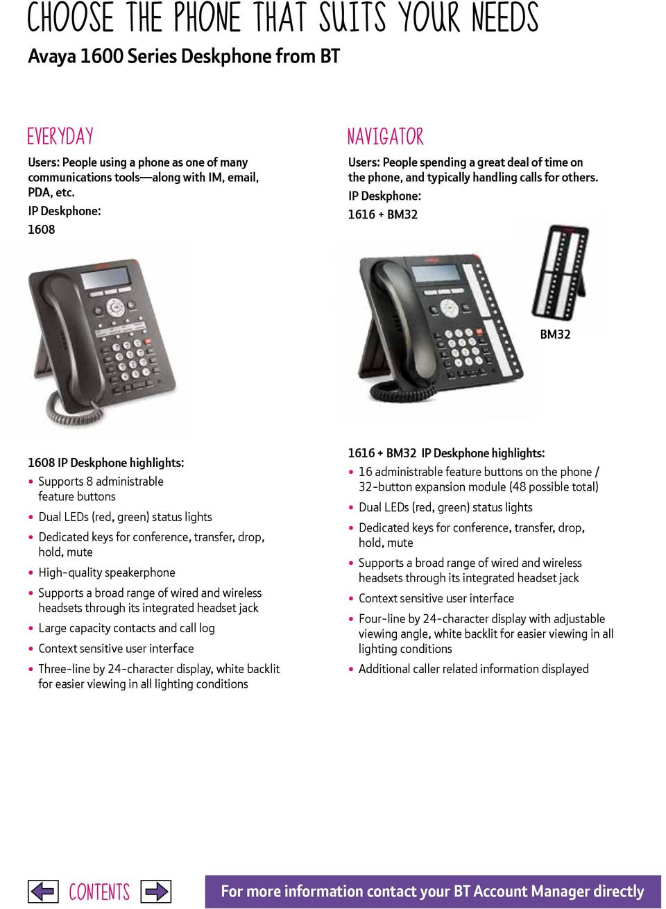 IP Deskphone: 1616 + BM32 BM32 1608 IP Deskphone highlights: Supports 8 administrable feature buttons Dedicated keys for conference, transfer, drop, hold, mute Large capacity contacts and call log