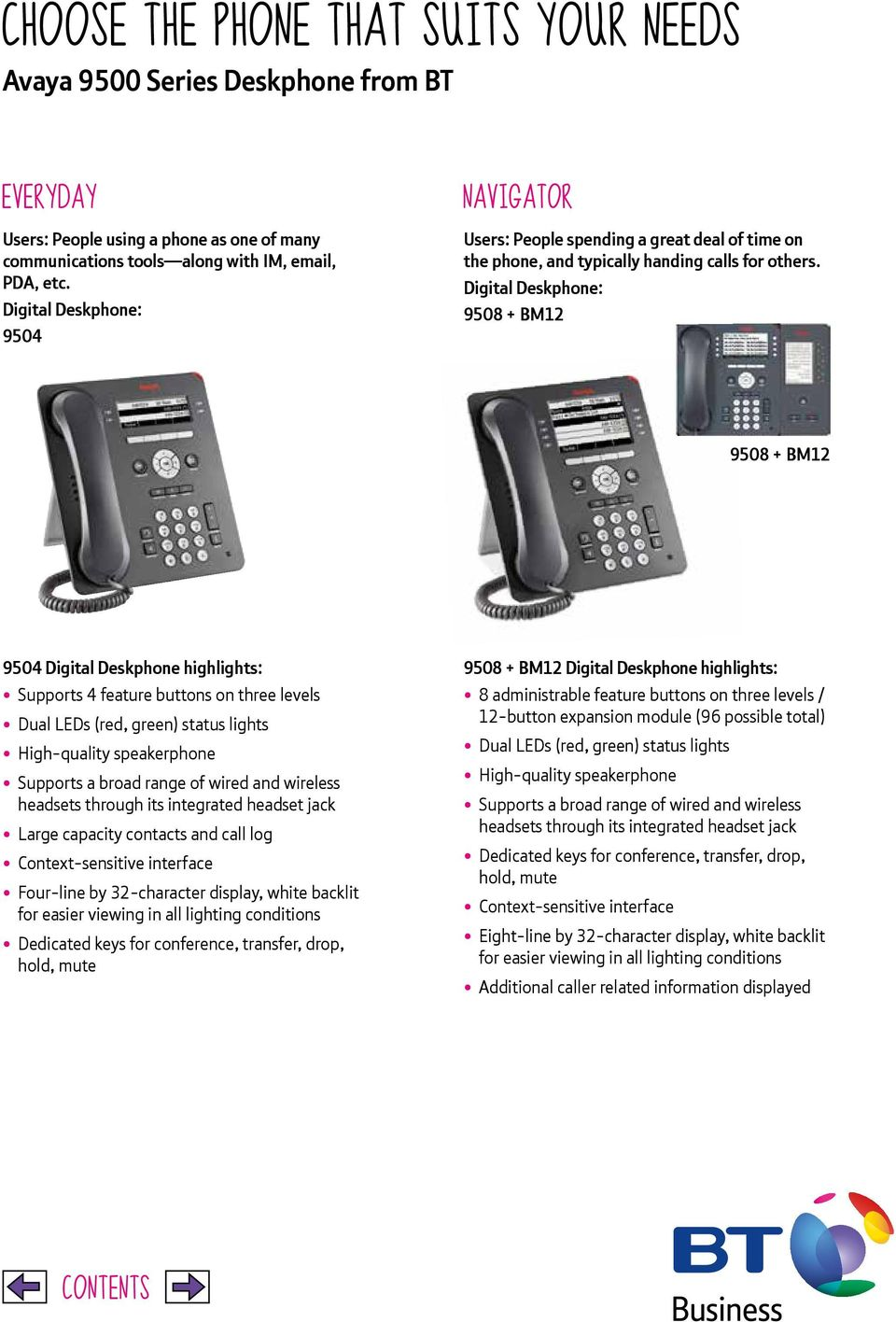 Digital Deskphone: 9508 + BM12 9508 + BM12 9504 Digital Deskphone highlights: Supports 4 feature buttons on three levels Large capacity contacts and call log Context-sensitive interface Four-line by