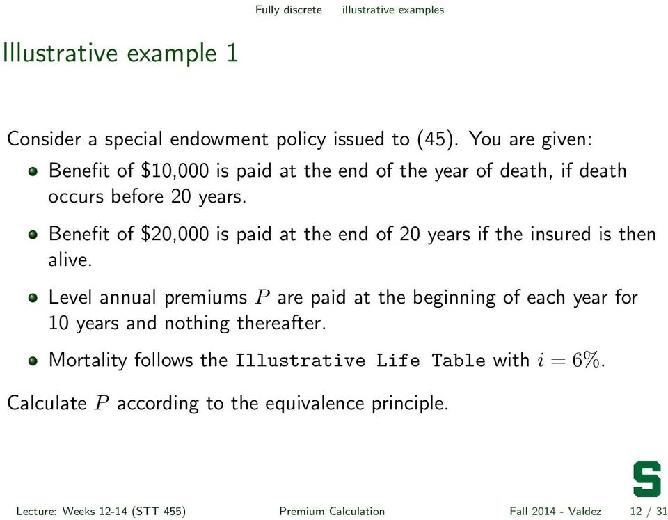 Benefit of $20,000 is paid at the end of 20 years if the insured is then alive.