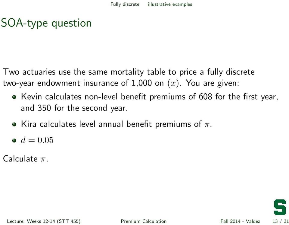You are given: Kevin calculates non-level benefit premiums of 608 for the first year, and 350 for the second