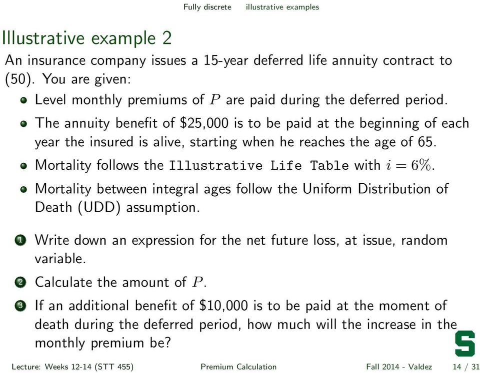 The annuity benefit of $25,000 is to be paid at the beginning of each year the insured is alive, starting when he reaches the age of 65. Mortality follows the Illustrative Life Table with i = 6%.