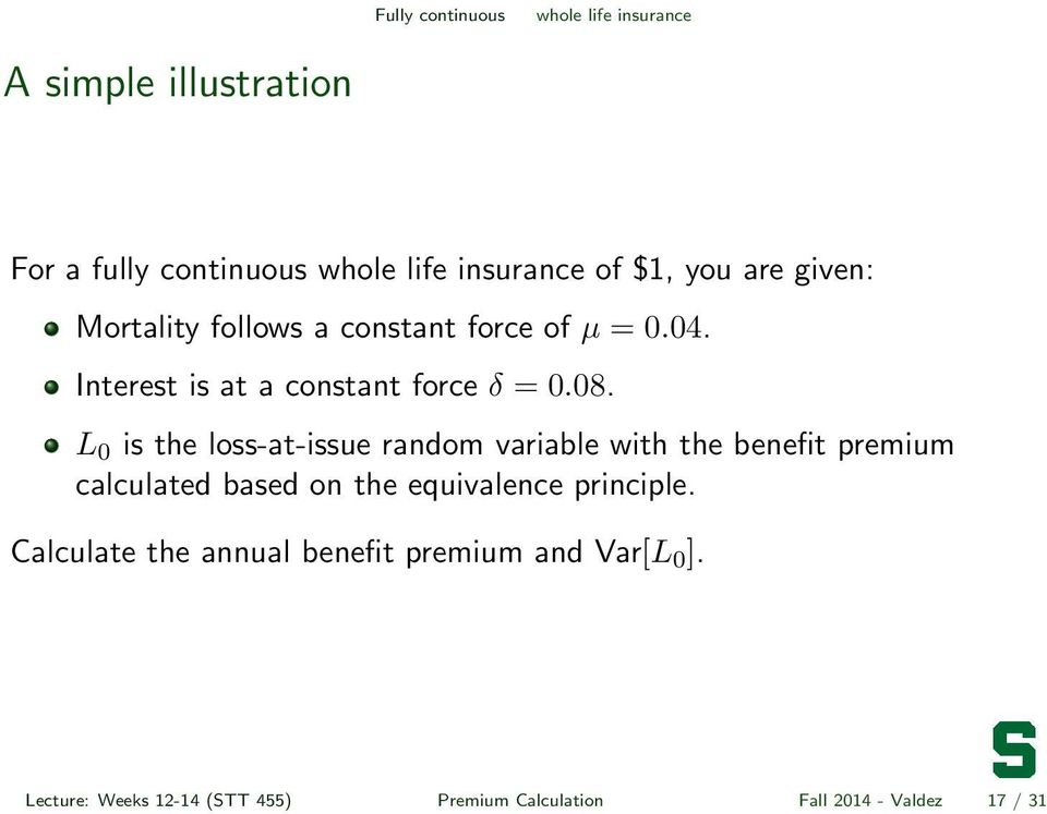 L 0 is the loss-at-issue random variable with the benefit premium calculated based on the equivalence principle.