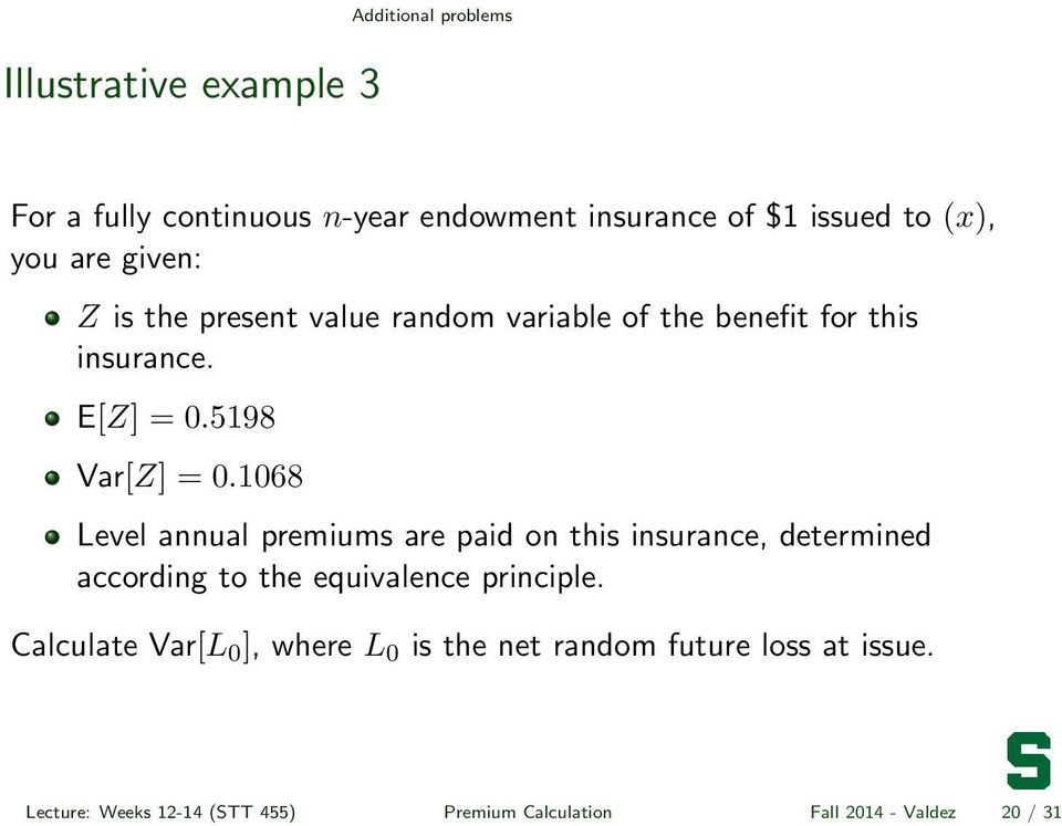 1068 Level annual premiums are paid on this insurance, determined according to the equivalence principle.
