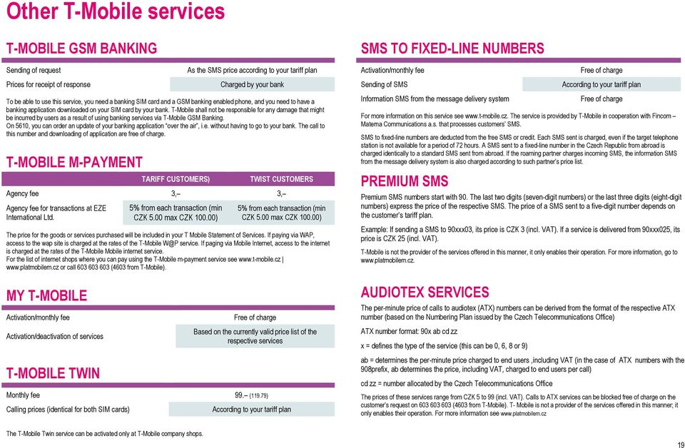 PRICE LIST OF T-MOBILE TARIFF PLANS AND SERVICES FOR KEY