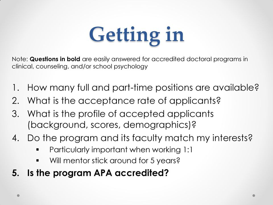 What is the profile of accepted applicants (background, scores, demographics)? 4.