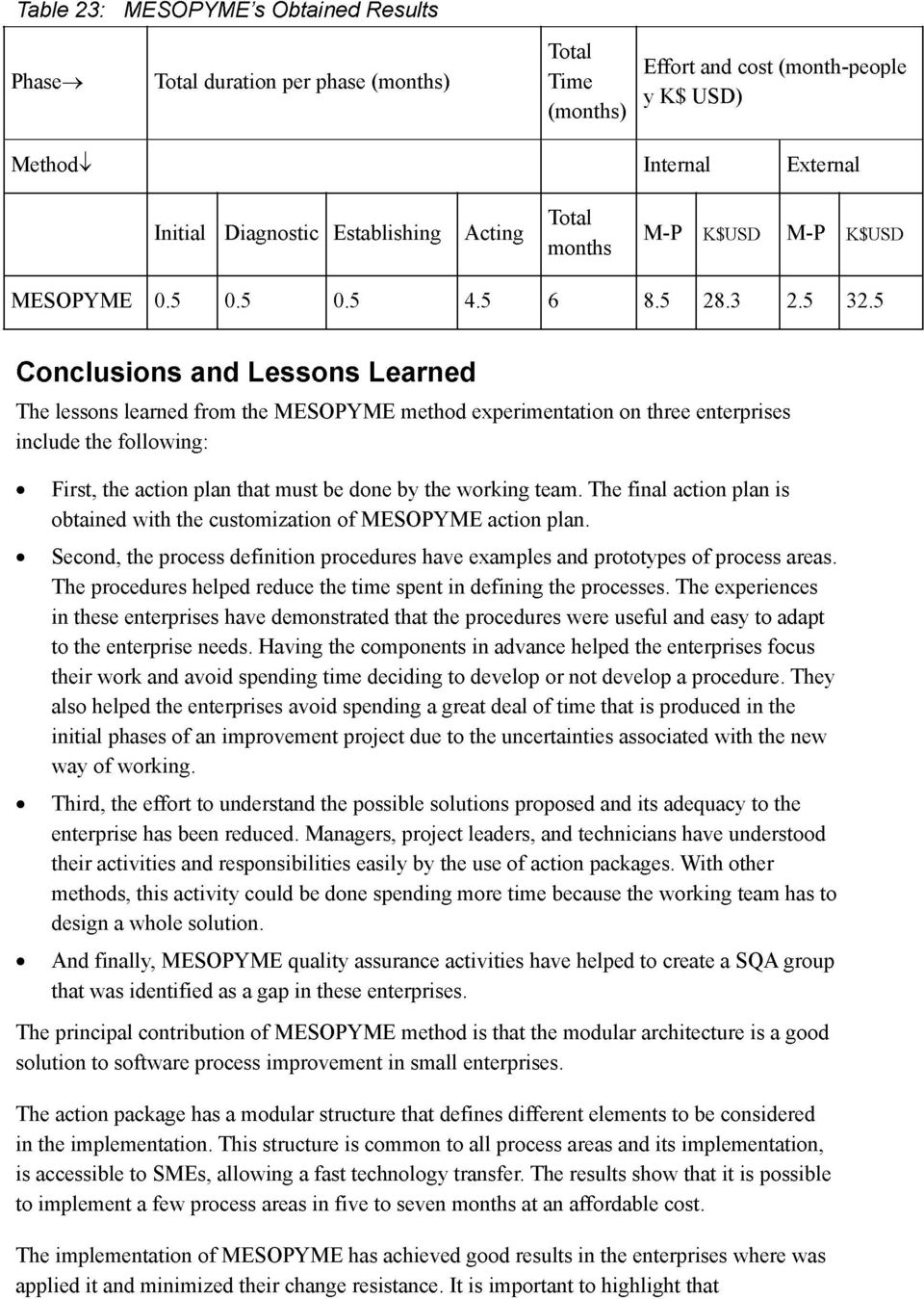 5 Conclusions and Lessons Learned The lessons learned from the MESOPYME method experimentation on three enterprises include the following: First, the action plan that must be done by the working team.