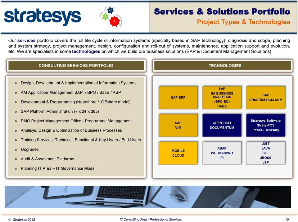 We are specialists in some technologies on which we build our business solutions (SAP & Document Management Solutions).
