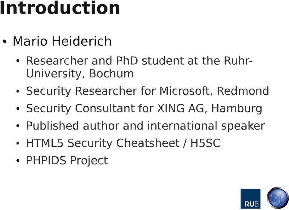 Redmond Security Consultant for XING AG, Hamburg Published author