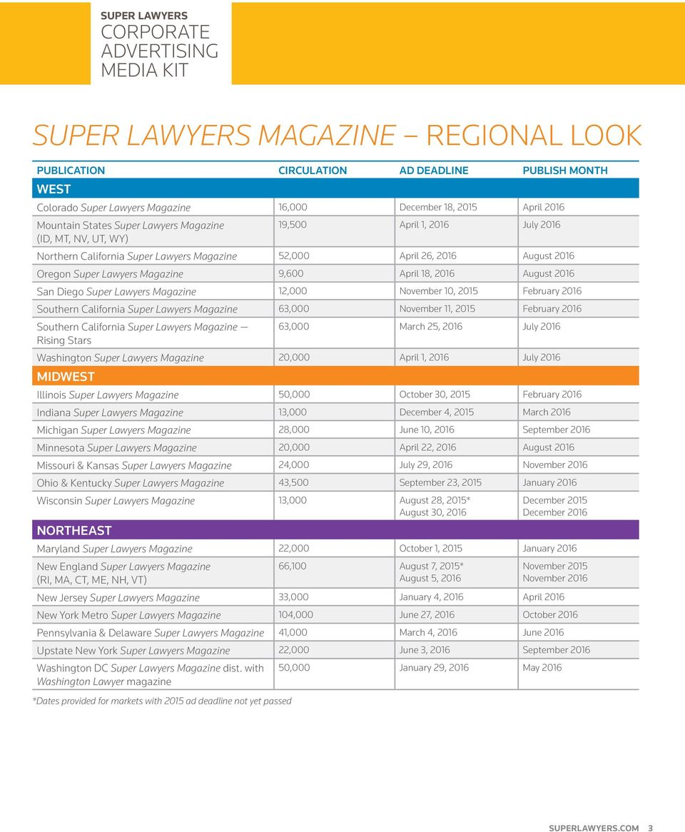 Diego Super Lawyers Magazine 12,000 November 10, 2015 February 2016 Southern California Super Lawyers Magazine 63,000 November 11, 2015 February 2016 Southern California Super Lawyers Magazine Rising