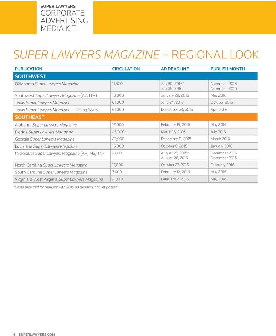2015 April 2016 SOUTHEAST Alabama Super Lawyers Magazine 12,000 February 19, 2016 May 2016 Florida Super Lawyers Magazine 45,000 March 18, 2016 July 2016 Georgia Super Lawyers Magazine 23,000