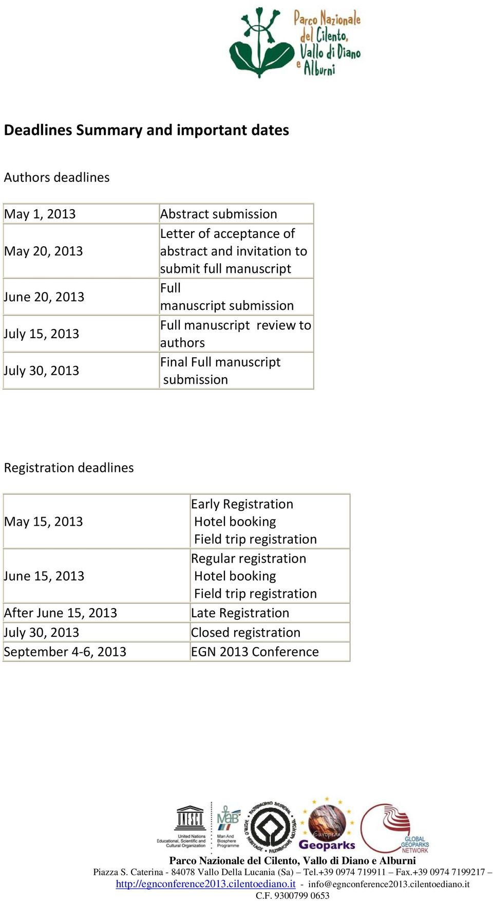 manuscript submission Registration deadlines May 15, 2013 June 15, 2013 After June 15, 2013 July 30, 2013 September 4 6, 2013 Early Registration