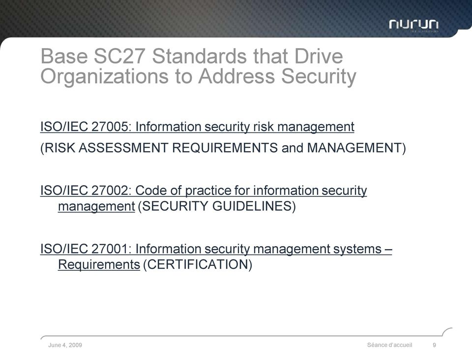 of practice for information security management (SECURITY GUIDELINES) ISO/IEC 27001:
