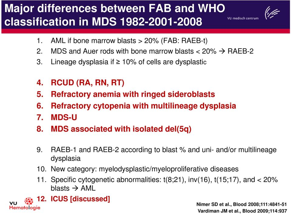 MDS associated with isolated del(5q) 9. RAEB-1 and RAEB-2 according to blast % and uni- and/or multilineage dysplasia 10. New category: myelodysplastic/myeloproliferative diseases 11.