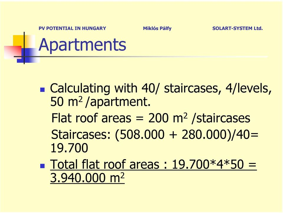 Flat roof areas = 200 m 2 /staircases Staircases: