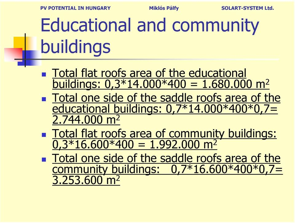 000*400*0,7= 2.744.000 m 2 Total flat roofs area of community buildings: 0,3*16.600*400 = 1.992.