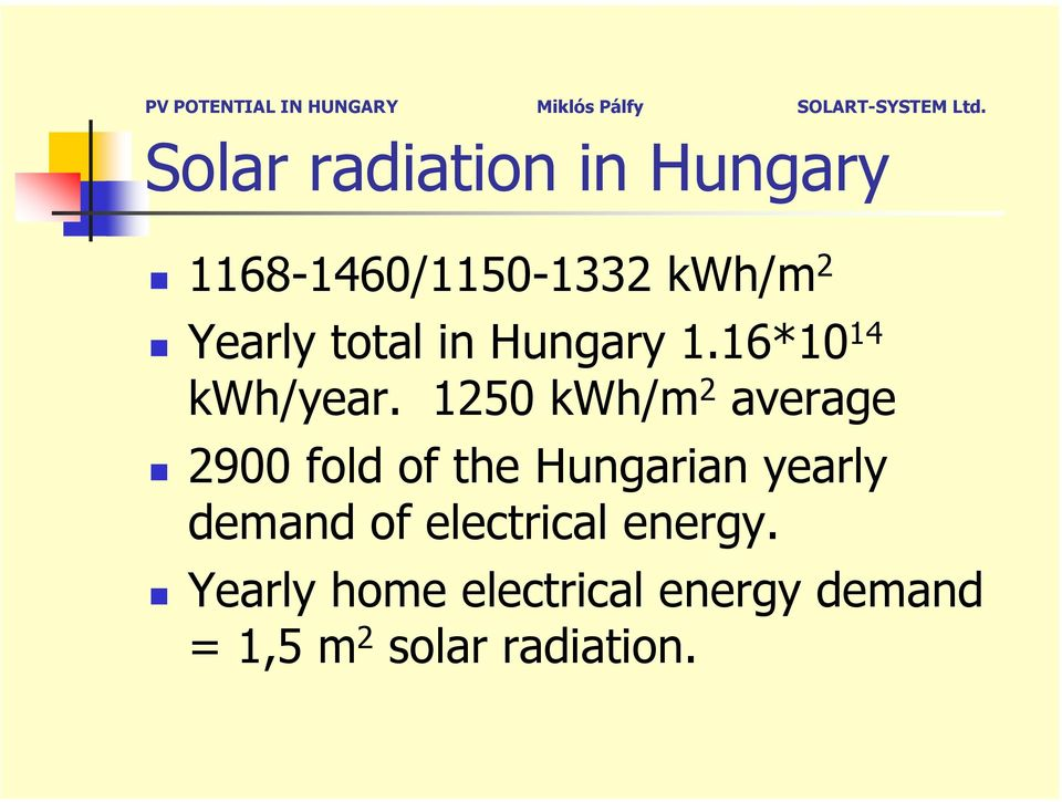1250 kwh/m 2 average 2900 fold of the Hungarian yearly demand