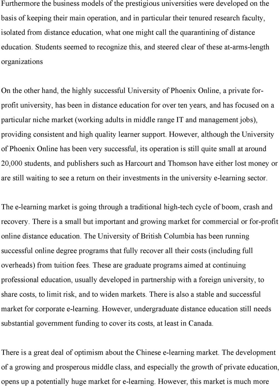 Students seemed to recognize this, and steered clear of these at-arms-length organizations On the other hand, the highly successful University of Phoenix Online, a private forprofit university, has