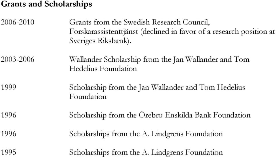 2003-2006 Wallander Scholarship from the Jan Wallander and Tom Hedelius Foundation 1999 Scholarship from the Jan
