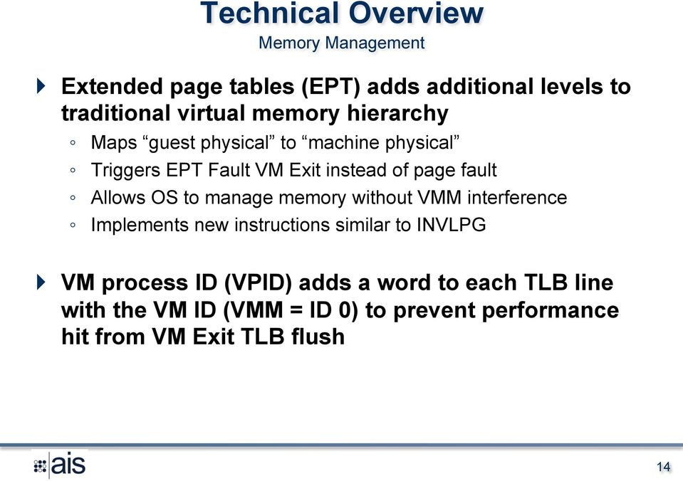 Allows OS to manage memory without VMM interference Implements new instructions similar to INVLPG } VM process