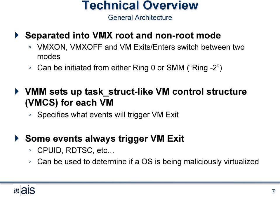 task_struct-like VM control structure (VMCS) for each VM Specifies what events will trigger VM Exit } Some